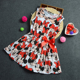 Wholesale Satin Ruffle Baby Dress - Baby girls minnie dress cartoon dress TUTU dress Girls Minnie Bow Dress children mickey clothes dress