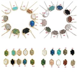 Wholesale Crystal Geometry - Fashion Drusy Druzy Necklace Earrings 6 Styles Various 10COLORS Gold&Silver Plated Geometry Faux Druzy Necklace Earrings for Women Jewelry