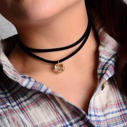 Wholesale Dimond Necklaces - Black Double Layer Faux Suede Leather Choker Necklace Dimond Shape Stone Pendant 1L3001