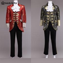 Wholesale mens double breasted vests - Wholesale- High-end Red Glod Mens Prince William Suits 4 Sets Floral Renaissance Medieval King Louise Suit Period Costume(Jacket+Pant+Vest)