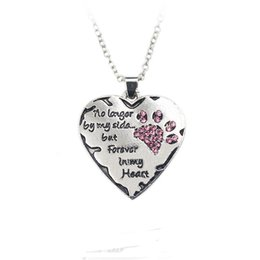 Wholesale Dog Chain Long - hot sale high quality alloy fashion engrave letters no longer by my side love dog diamond choker pendant necklace jewelry