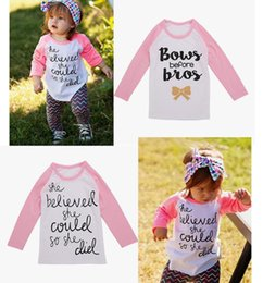 Wholesale Tshirt Kids Top - 2017 baby girls clothes toddler boutique clothing kids long sleeve tshirt spring autumn t shirt Girls letter print shirts pink top white tee