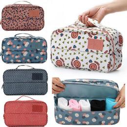 Wholesale Travel Bras Zippers - 8 Colors Floral Travel Casual Nylon Zipper New Women Underwear Socks Cosmetic Bag Case Bra Organizer Toiletry Two Pockets Storage Wash