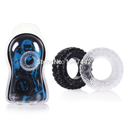 Wholesale Men Sex Spray - Wholesale- New Wheel Silicone Cock Ring Sex Toys For Men Delay Spray Cock Lock, 2pcs Penis Ring cnepma pene cocking sex products.