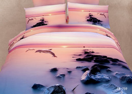 Wholesale Dolphins Bedding - Wholesale- 4 Pieces Per Set Lovely Dolphin Under Sunrise with Fog Luxury Digital Printing Bedding Sets