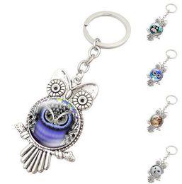 Wholesale Cabochon Retro - New Retro Owl Key Rings Glass Cabochon Pendant Keychains Fashion Metal Key Ring Christmas Gift Free Shipping