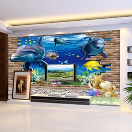 Wholesale Nursery Wall Stickers Fish - 3d wallpaper mural 3D seabed fish Wall Sticker nursery wall decor tattoos Baby Fish Ocean Underwater World Wallpaper Home Decor