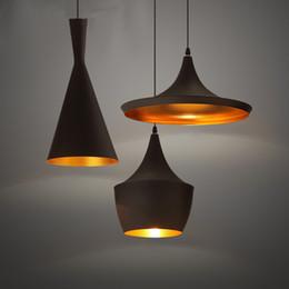 Wholesale Instrument Cord - Tom Dixon Light Copper Design Pendant Lamp E27 Bulbs Beat Light Ceiling Lamp Black White Home Decoration 3 Size Choose Instrument Chandelier