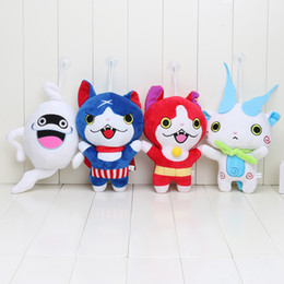 Vidéo de poupée japonaise en Ligne-Gros- 4Pcs / set 20cm Japon Yokai Montre Chat Rouge KOMA SAN Nyan Whisper Youkai Montre Peluche Poupée Souple
