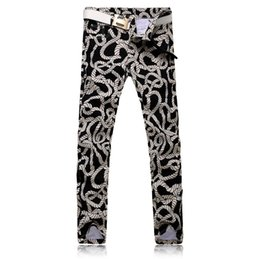 Wholesale Designer Drawing - Wholesale-2016 NEW Men printing Coloured drawing or pattern Nightclubs Jeans,Famous Brand Fashion Designer Denim Jeans Men,plus-size 28-36