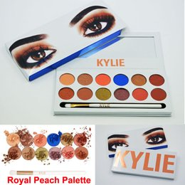 Wholesale Glitter Pens Wholesale - 2017 Kylie Kyshadow The Royal Peach Palette Eyeshadow 12color Eye shadow palette with pen brushes Kylie Jenners Cosmetics Free DHL