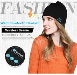 Wholesale Peaches Music - NEW Soft Warm men women Beanie Bluetooth Music Hat Cap with Stereo Headphone Headset Speaker Wireless Mic Hands-free christmas gift b1072