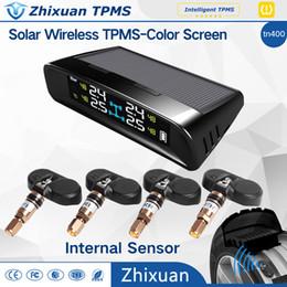 Wholesale Tpms Sensor Internal Tire Pressure - car Solar power TPMS internal sensor colorful screen wireless tire pressure monitor system Germany Infineon Sensor Chip USB port