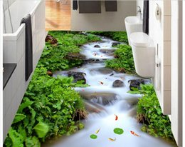Wholesale Mediterranean Flooring - 3d pvc flooring custom photo Waterproof floor Mountain stream river falls decoration painting 3d wall murals wallpaper for walls 3 d