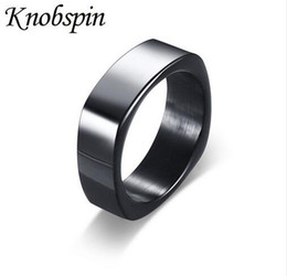 Wholesale 14k Gold Men Ring Band - 2017 New arrival Punk Rock Stainless Steel Mens Biker Rings simple Jewelry fashion black Color Ring Men US Size 9-12