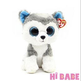 Wholesale Cute Animals Big Eyes - Wholesale- 1pcs 18cm 2015 Hot Sale Ty Beanie Boos Big Eyes Husky Dog Plush Toy Doll Stuffed Animal Cute Plush Toy Kids Toy