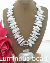 """Wholesale Pearl Necklace 24 - FC030303 25mm Biwa Pearl&White Shell Pendant Necklace FC092211 24"""" 3 Strands White Pearl Necklace CZ Pendant"""