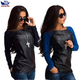 Wholesale Leather Sleeve T Shirt Women - Wholesale-Spring 2016 new women's fashion casual long sleeve T-shirt   Woman's leather stitching round neck T-shirt   PT00013