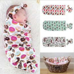 Wholesale Envelope Printed - Baby Clothes Gilrs Boys 2PCS Baby Sleeping Bags + Hair Band 2017 Printed Newborn Infant Wrap Kids Clothing XY111
