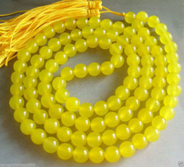 Wholesale Vintage Jade Beads - Vintage asia Tibetan 108 Golden Jade Prayer Buddha Bead Necklace 8mm