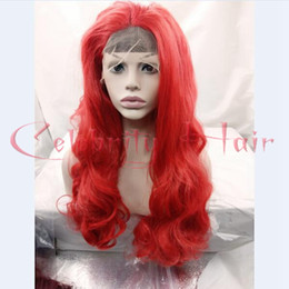 Wholesale Lace Front Red Cosplay Wig - Fashion Bright Red Color Long Cheap Glueless Synthetic Lace Front Wig Golden Yellow Heat Resistant Body Wave Hair Cosplay wig