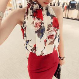 Wholesale Turtleneck Chiffon Blouses - 2017 New Fashion Women Clothing Sleeveless Chiffon Shirts Floral Print Blouse Ruffles Turtleneck Tops Shirt Plus Size
