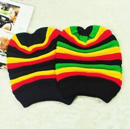 Wholesale Rainbow Knitted Hat - Hot!New recommend women winter wild beanies lady striped rainbow outdoor ski warm wool hats couples hooded sports knitting caps wholesale