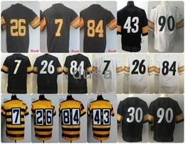 Wholesale Bell Drop White - 2017 Stitched Jerseys 90 Watt 30 Conner 84 Brown 7 Roethlisberger 26 Bell 43 Polamalu Black White Gold Size 40-56 Free Drop Shipping