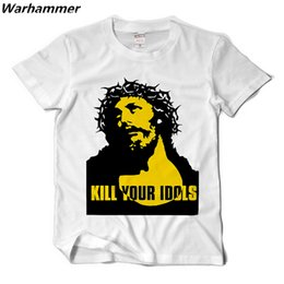 Wholesale Rock Roll Shirts - Warhammer Kill Your Idols Men T shirt Rock Roll Style Casual Fit Tee Shirt Guns N Roses Fan Cotton XXL Camisetas Alex Rose Style T shirt 2XL