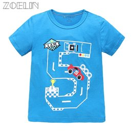 Wholesale Cartoon Babies Numbers - 2017 Dinosaur New O-neck Fashion Brand Kids Summer T-shirt Children's Number Pattern Top Baby Cotton Cartoon T Shirt 0-7y