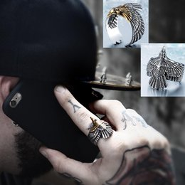 eagles band Promo Codes - Wholesale 2017 Personality Unique Biker Eagle Ring Stainless Steel Man's High Quality Jewelry Exaggerated Ring Free Shipping