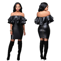 Wholesale Sheer Leather Dress - Best-selling Europe and the United States and sexy nightclub splicing leather dress