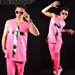 Wholesale Neon Crosses - Wholesale- Fashion Male Specular Cross Neon pink hiphop Vest men's clothing costume