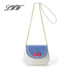 Wholesale Moon Candies - Wholesale-New 2016 Ladies Sailor Moon Bag Candy Color Chain Shoulder Bag PU Leather Cute Bow Handbag Women Messenger Small Crossbody Bag