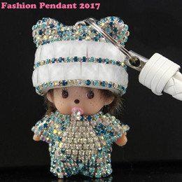 Wholesale monchichi dolls - 2017 new Monchichi keychain cartoon Crystal Monchichi Dolls pompom Key ring lady bag car pendant wholesale