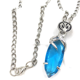 Wholesale Final Fantasy Chains - Wholesale-3D Game Final Fantasy Crystal Chronicles Yuna Necklace Blue Crystal Drop Pendants Classic Punk Women And Men Statement Necklace