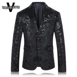 Wholesale Sequins Suits For Men - Wholesale- Black Blazer Men Paisley Pattern Sequin Suit Jacket Slim Fit Fashion Stage Wear For Singer Casual Mens Blazers New Arrivals 2016