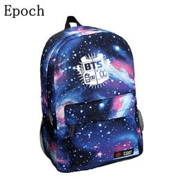 Wholesale Galaxy Print Bags - Wholesale- Epoch Korean New Galaxy Printing Backpack For Women BTS Backpack Bigbang Waterproof Nylon Men Backpack School Bag For Teenagers