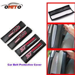 Wholesale St Car Badge - TOP Best match auto belts 2pcs Car Seat Safety Belt Cover Belts Padding Cover For ST RACING logo badge car accessories