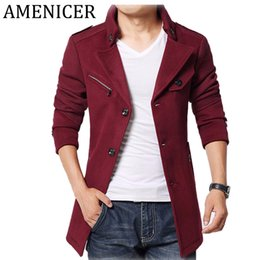 Wholesale Mens Slim Fit Down Coat - Wholesale- Hot Sale 2016 Turnd-Down Collar Wool Brand Winter Jacket Men Slim Fit Fashion Mens Pea Coats High Quality Long Coat