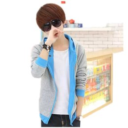 Wholesale Korean Fashion Men S Cardigan - Wholesale- Hooded jacket Men's Cardigan New Hot Zipper Fashion Korean Casual Women's