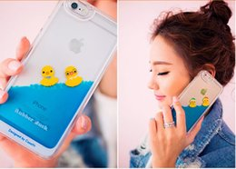 Wholesale Duck Back - New arrival Crystal Clear sea Swimming Duck Pattern colorful Transparent Flowing Liquid Back Cover Phone Case For iPhone 6 4.7