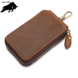Wholesale Alligator Skin Bag - ZYD-COOL 2017 New High Quality Cowhide Men's Genuine Leather Car Key Wallet Mens Fashion Key Case Bags Real Skin Coin Purse Bag