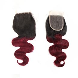 Wholesale Jet 18 - Ombre Two tone 1B 99J jet black and burgundy human hair lace closure 4x4 inch Brazilian Peruivan body wave straight loose wave