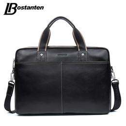 Wholesale Bostanten Briefcase - Wholesale- BOSTANTEN Genuine Leather Bag Casual Men Handbags Cowhide Men Crossbody Bag Men's Travel Bags Large Laptop Briefcase Bag for Man