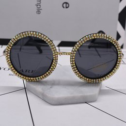 Wholesale Oversize Glasses - new women fashion sunglass crystal shining oversize baroque sunglasses black full frame big round sun glasses beach outdoor accessories