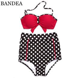 Wholesale String Maillot - 2016 new sexy swimwear bikini set bandage push-up pad high waist Dot bikini bottoms halter string strappy bikini maillot de bain