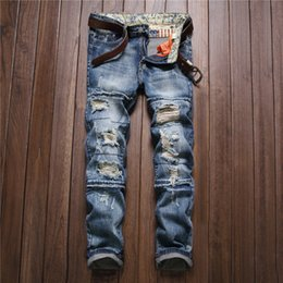 Wholesale Mens Paisley Pants - Wholesale- Mens Fashion Ripped Jeans Slim Fit Men Brand Clothing Hole Denim Pants Vintage Destroyed Washed Patchwork Jean Trousers For Male