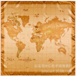 Wholesale Chinese Silk Men Scarf - Wholesale- 90cm * 90cm Chinese characteristic silk gift world map large square towel