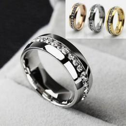 2019 joyas de oro 18k Anillos de moda de lujo de acero inoxidable de cristal anillos de boda para mujeres hombres chapado en oro de calidad superior para hombre anillo de la joyería de oro plata negro libre sh